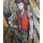 boy in a red waistcoat اثر سزان